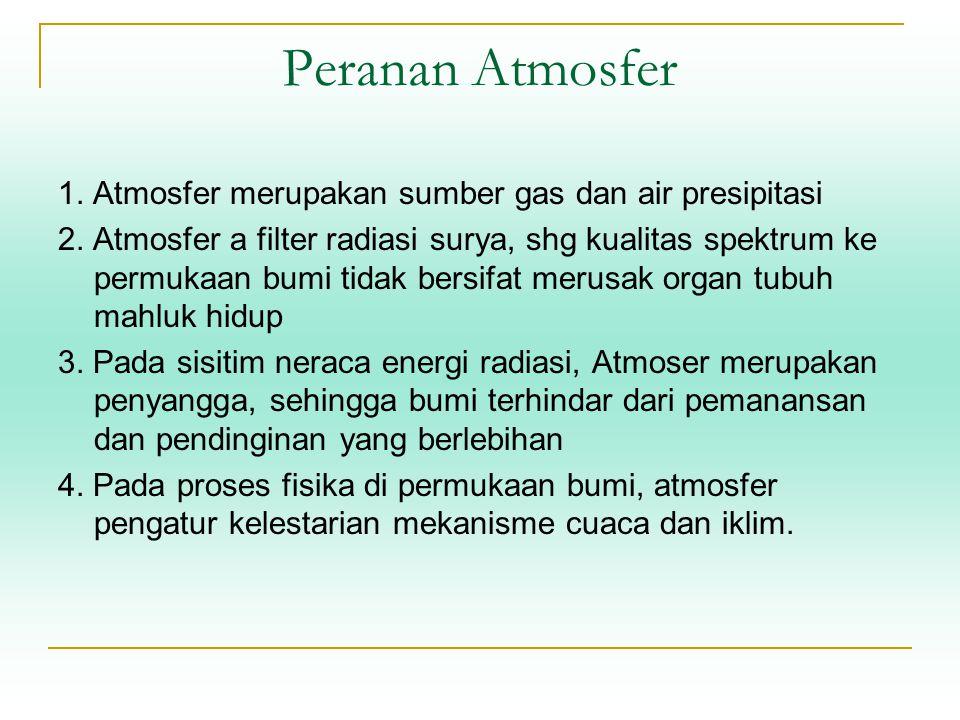 Peranan Atmosfer 1. Atmosfer merupakan sumber gas dan air presipitasi