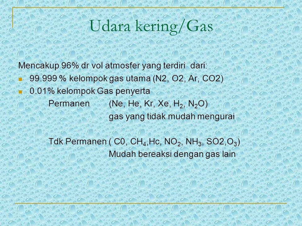 Udara kering/Gas Mencakup 96% dr vol atmosfer yang terdiri dari: