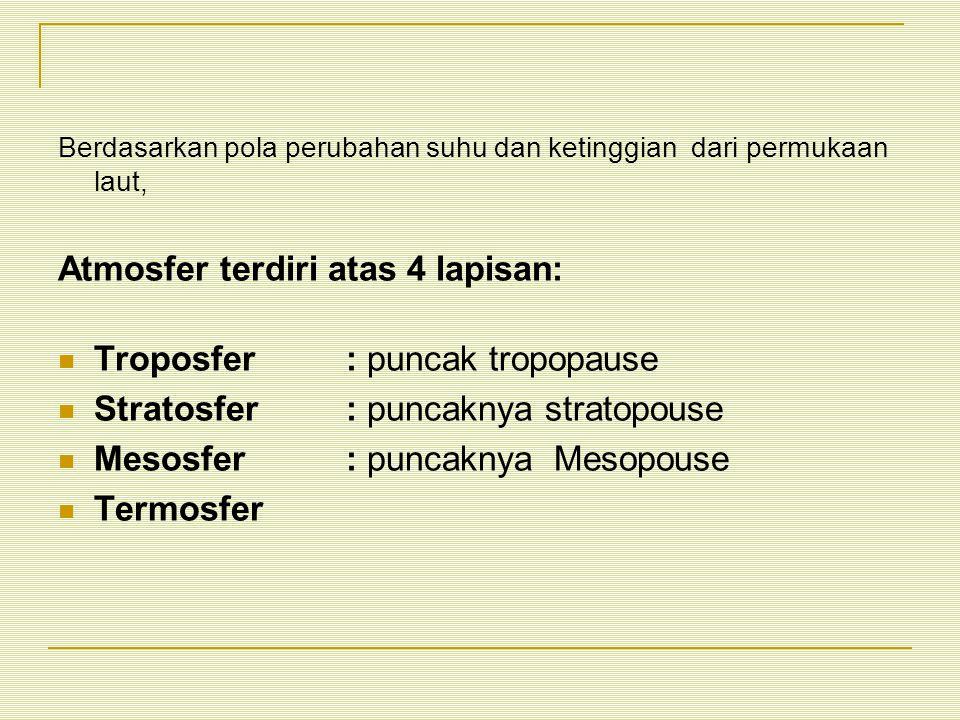 Atmosfer terdiri atas 4 lapisan: Troposfer : puncak tropopause