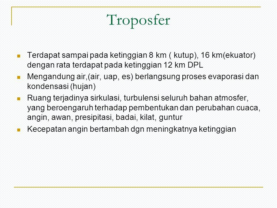 Troposfer Terdapat sampai pada ketinggian 8 km ( kutup), 16 km(ekuator) dengan rata terdapat pada ketinggian 12 km DPL.