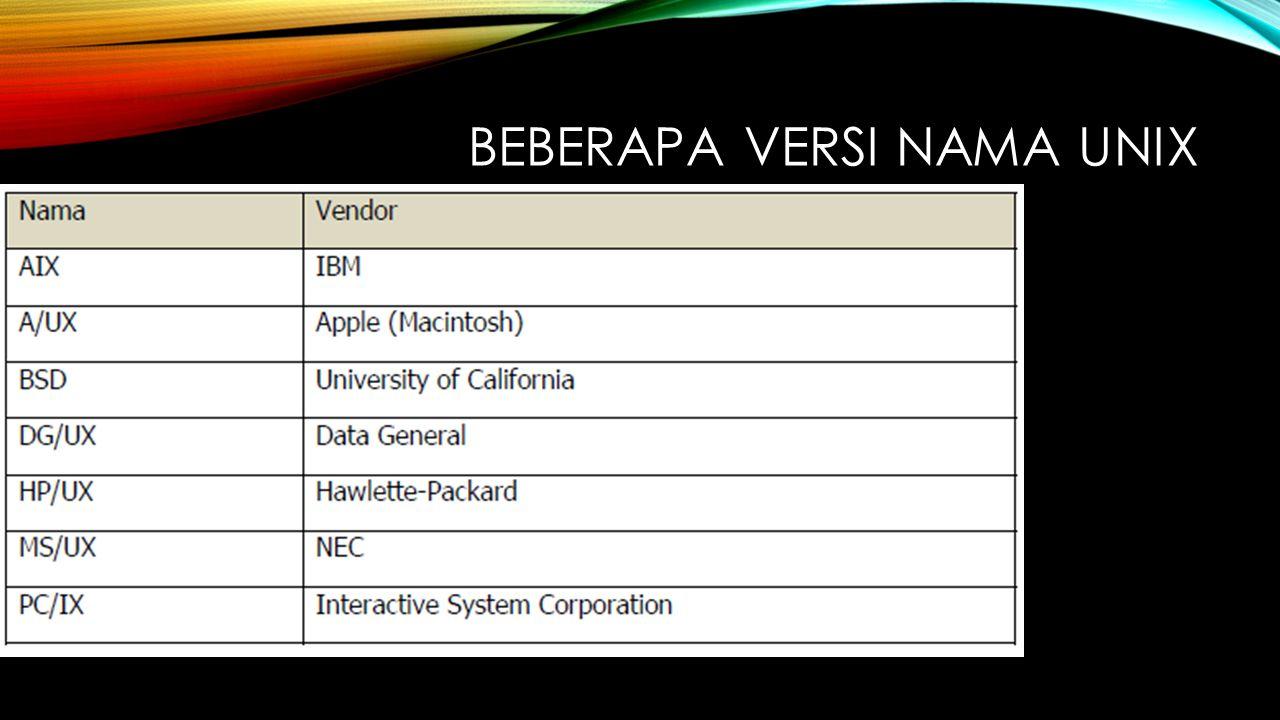 Beberapa Versi Nama UNIX