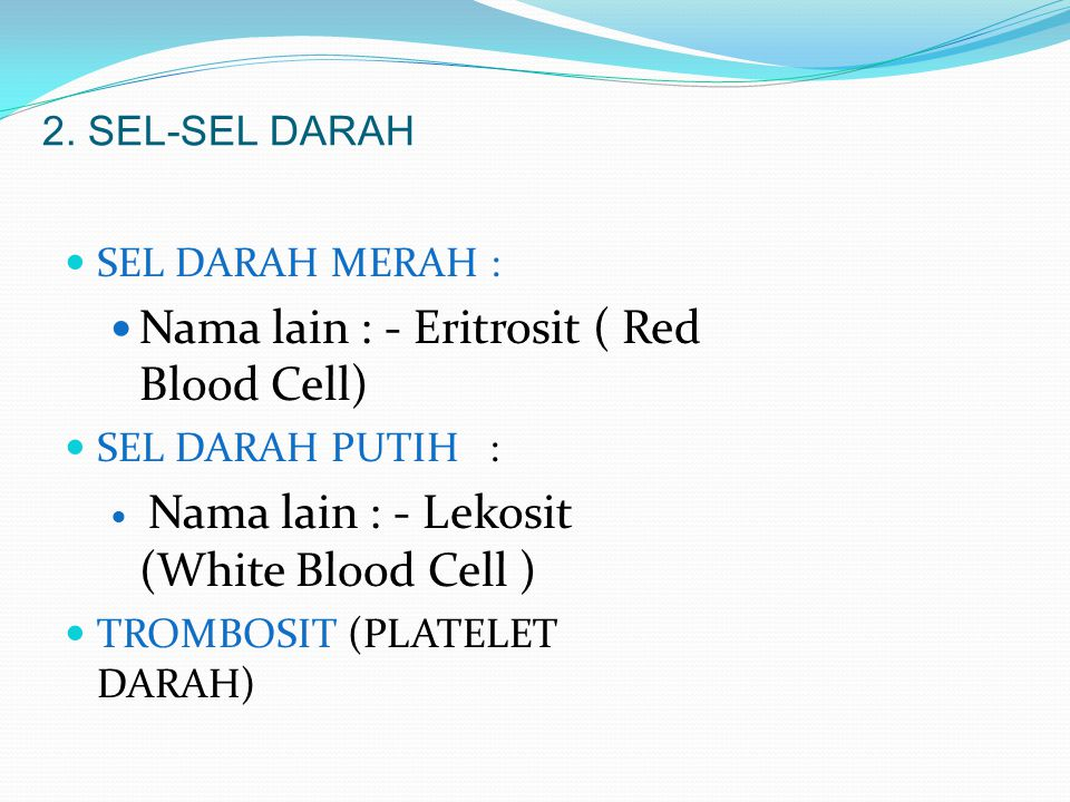 Nama lain : - Eritrosit ( Red Blood Cell)