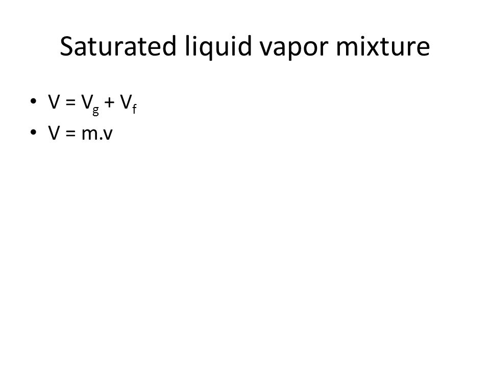 Saturated liquid vapor mixture