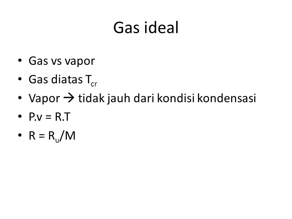 Gas ideal Gas vs vapor Gas diatas Tcr