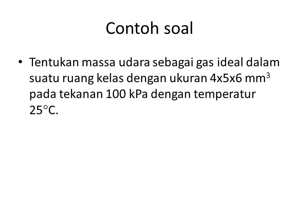 Contoh soal Tentukan massa udara sebagai gas ideal dalam suatu ruang kelas dengan ukuran 4x5x6 mm3 pada tekanan 100 kPa dengan temperatur 25C.