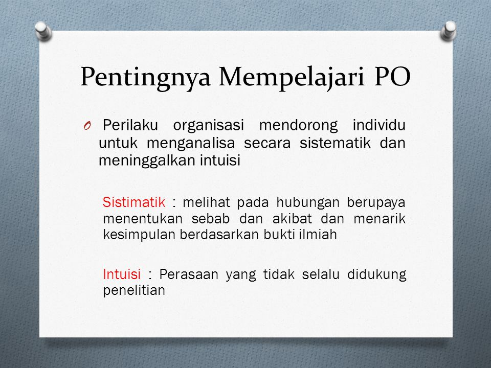 Pentingnya Mempelajari PO