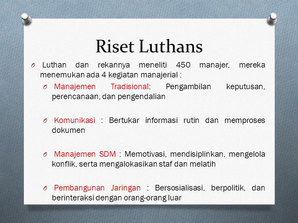 Riset Luthans Luthan dan rekannya meneliti 450 manajer, mereka menemukan ada 4 kegiatan manajerial :