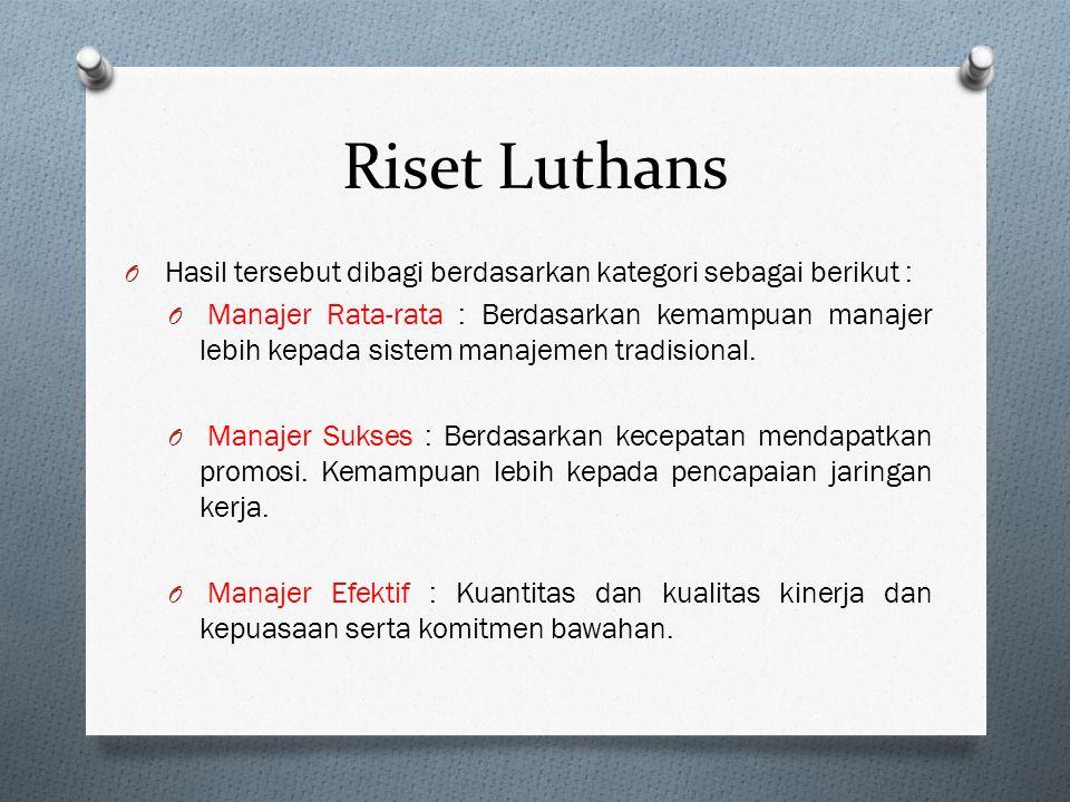 Riset Luthans Hasil tersebut dibagi berdasarkan kategori sebagai berikut :