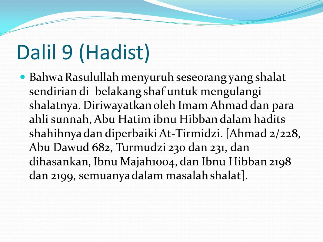 Dalil 9 (Hadist)