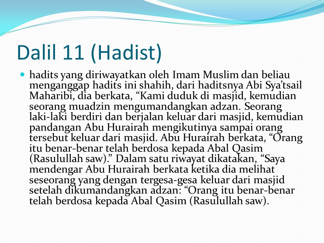 Dalil 11 (Hadist)
