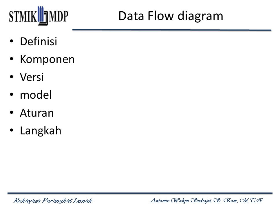 Data Flow diagram Definisi Komponen Versi model Aturan Langkah
