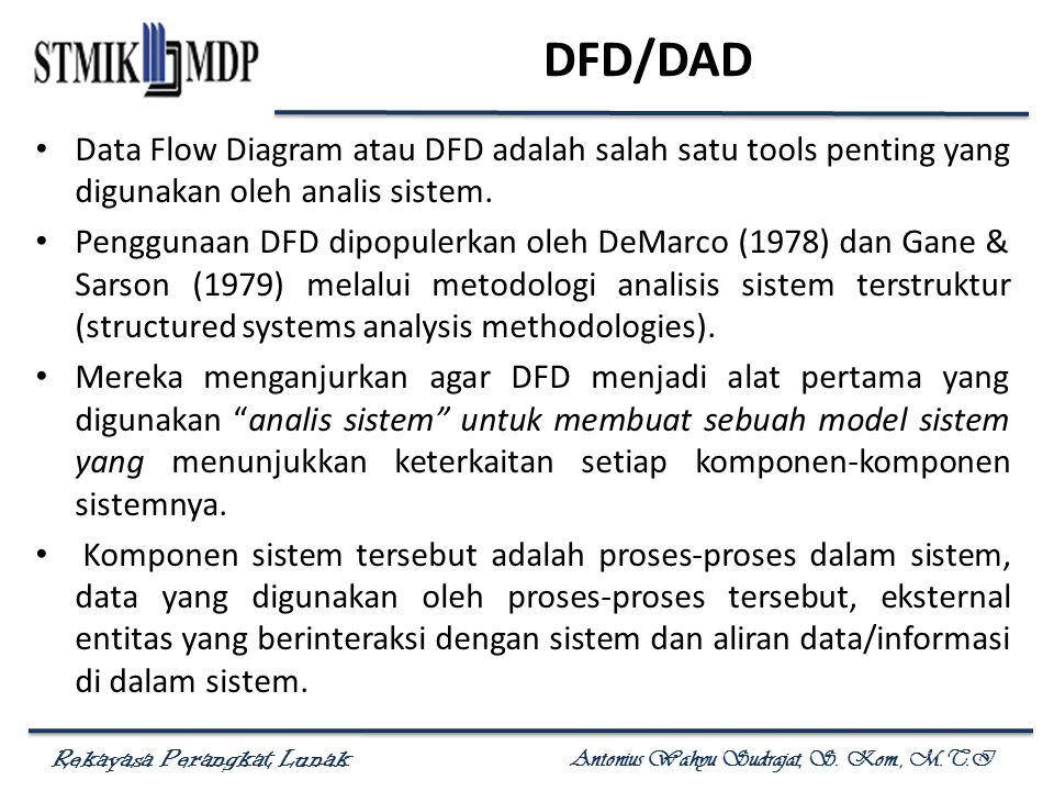 DFD/DAD Data Flow Diagram atau DFD adalah salah satu tools penting yang digunakan oleh analis sistem.
