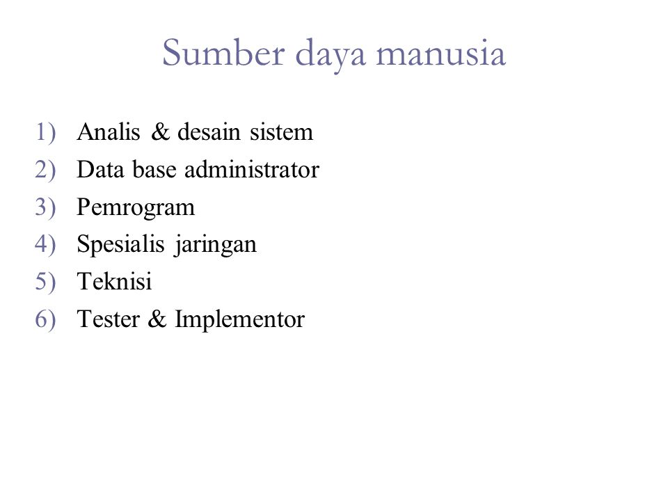 Sumber daya manusia Analis & desain sistem Data base administrator