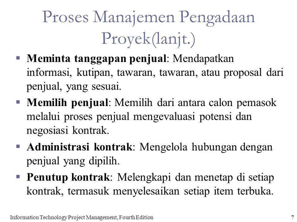 Proses Manajemen Pengadaan Proyek(lanjt.)