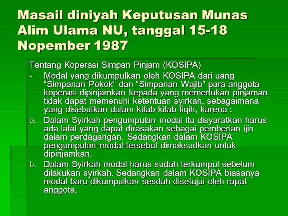 Masail diniyah Keputusan Munas Alim Ulama NU, tanggal 15-18 Nopember 1987