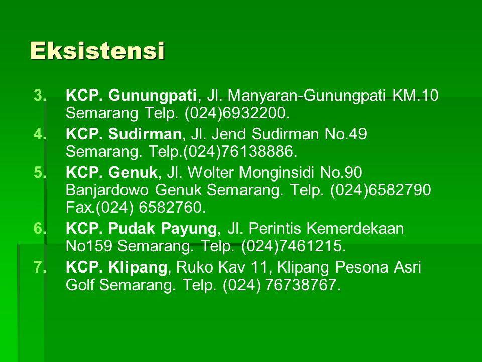 Eksistensi KCP. Gunungpati, Jl. Manyaran-Gunungpati KM.10 Semarang Telp. (024)6932200.