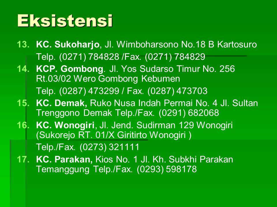 Eksistensi KC. Sukoharjo, Jl. Wimboharsono No.18 B Kartosuro