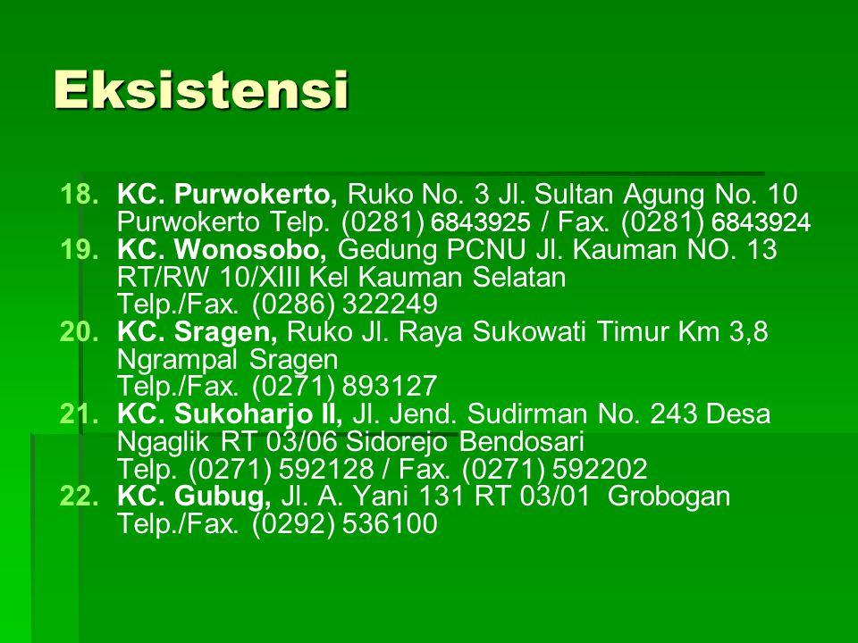 Eksistensi KC. Purwokerto, Ruko No. 3 Jl. Sultan Agung No. 10 Purwokerto Telp. (0281) 6843925 / Fax. (0281) 6843924.