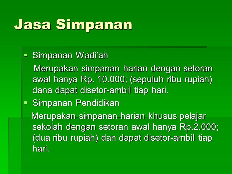 Jasa Simpanan Simpanan Wadi'ah