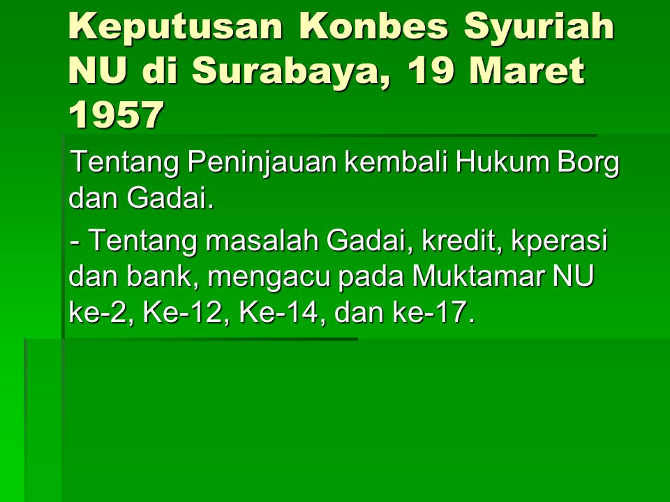 Keputusan Konbes Syuriah NU di Surabaya, 19 Maret 1957