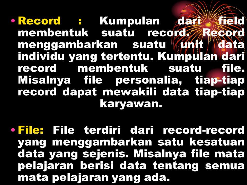 Record : Kumpulan dari field membentuk suatu record