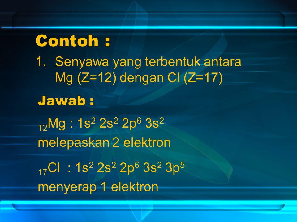 Contoh : Senyawa yang terbentuk antara Mg (Z=12) dengan Cl (Z=17)
