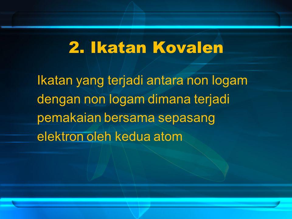 2. Ikatan Kovalen Ikatan yang terjadi antara non logam