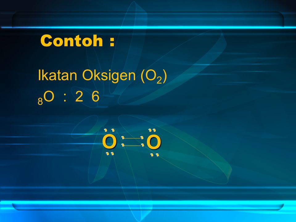 Contoh : Ikatan Oksigen (O2) 8O : 2 6 O O