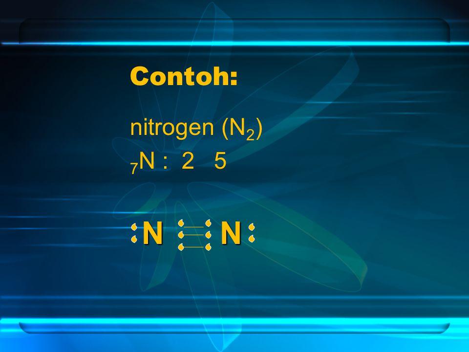 Contoh: nitrogen (N2) 7N : 2 5 N N