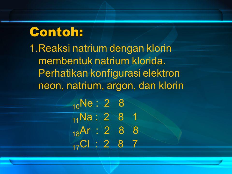 Contoh: 1.Reaksi natrium dengan klorin membentuk natrium klorida. Perhatikan konfigurasi elektron neon, natrium, argon, dan klorin.