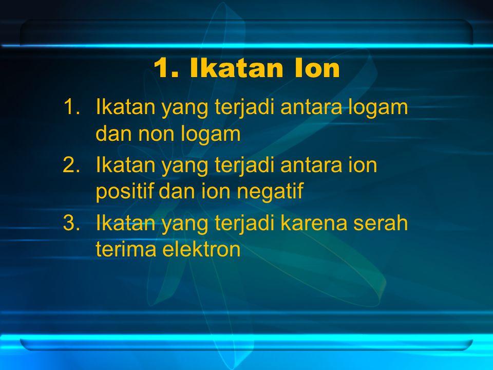 1. Ikatan Ion Ikatan yang terjadi antara logam dan non logam