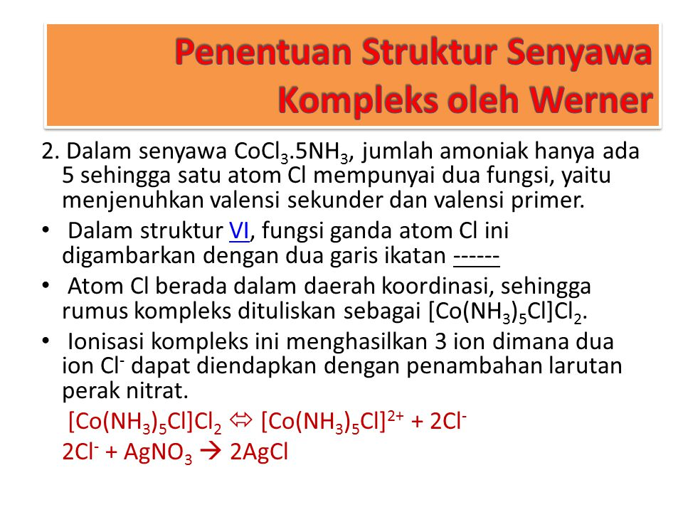 Penentuan Struktur Senyawa Kompleks oleh Werner