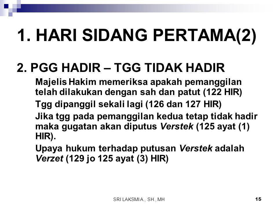 1. HARI SIDANG PERTAMA(2) 2. PGG HADIR – TGG TIDAK HADIR