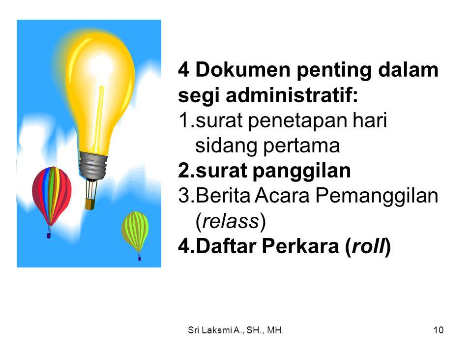 4 Dokumen penting dalam segi administratif: 1.surat penetapan hari