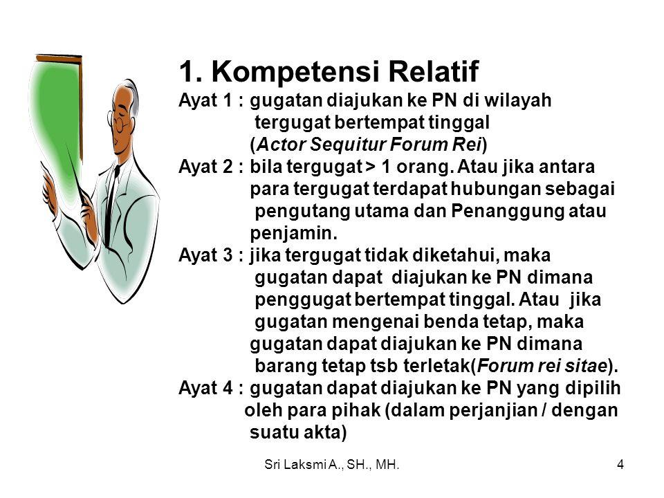1. Kompetensi Relatif Ayat 1 : gugatan diajukan ke PN di wilayah