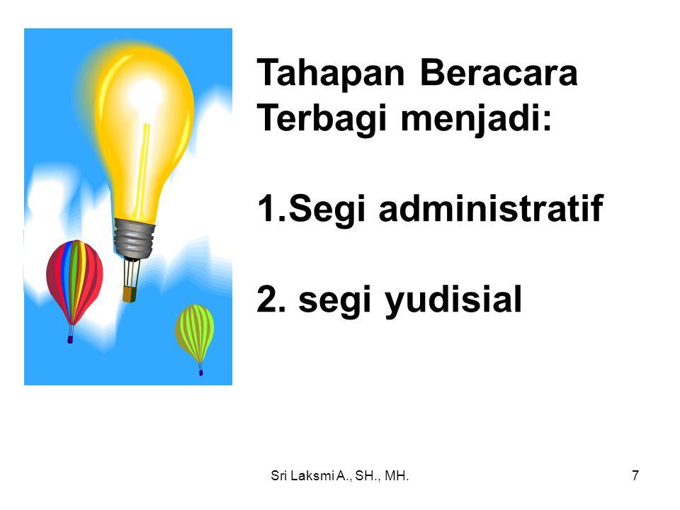 Tahapan Beracara Terbagi menjadi: Segi administratif 2. segi yudisial