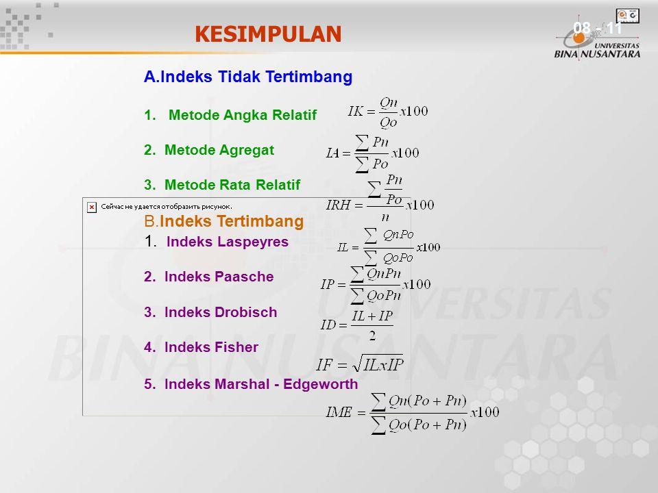 KESIMPULAN 08 - 11 A.Indeks Tidak Tertimbang B.Indeks Tertimbang