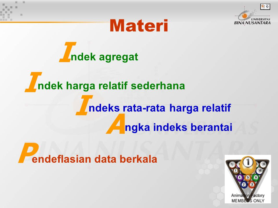 I I I A P Materi ngka indeks berantai ndek agregat