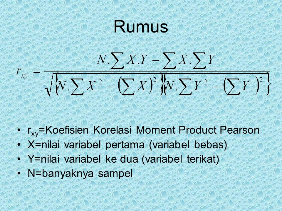 Rumus rxy=Koefisien Korelasi Moment Product Pearson