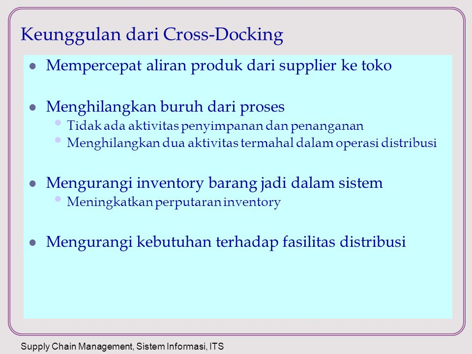 Keunggulan dari Cross-Docking