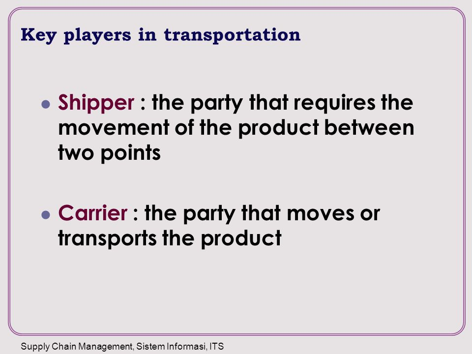 Key players in transportation