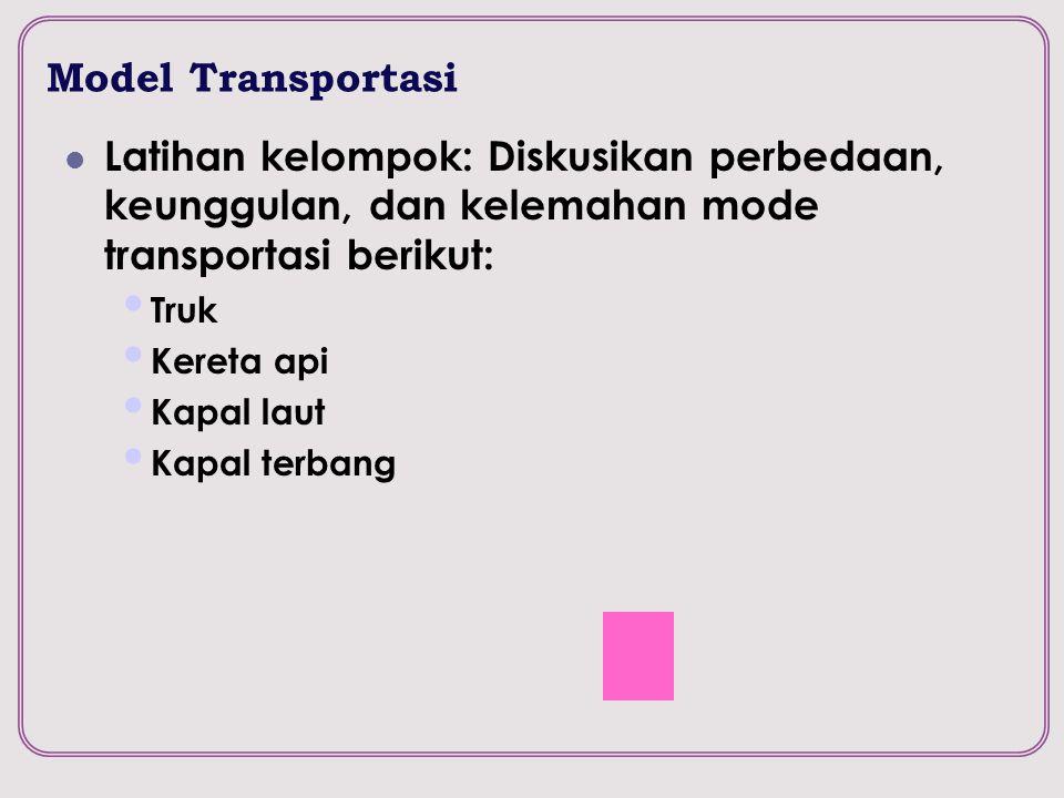 Model Transportasi Latihan kelompok: Diskusikan perbedaan, keunggulan, dan kelemahan mode transportasi berikut:
