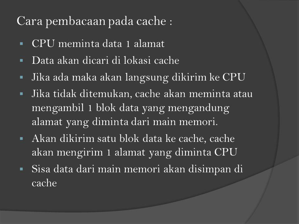 Cara pembacaan pada cache :