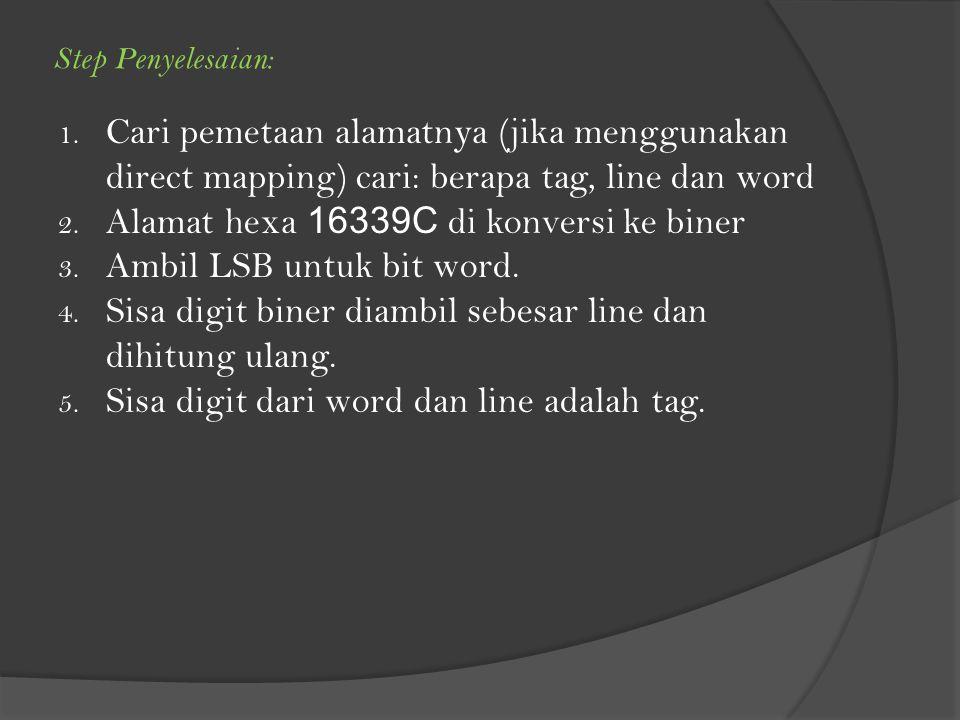 Alamat hexa 16339C di konversi ke biner Ambil LSB untuk bit word.