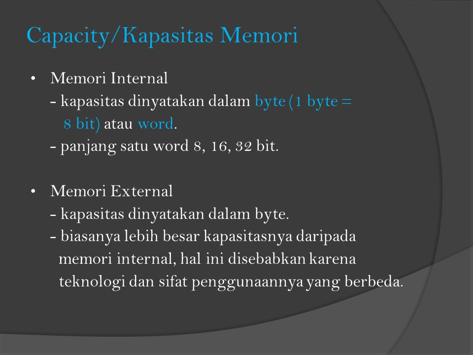 Capacity/Kapasitas Memori
