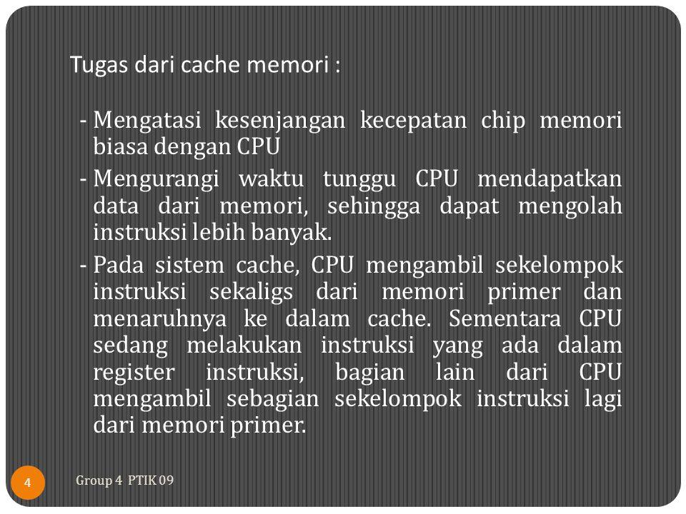 Tugas dari cache memori :