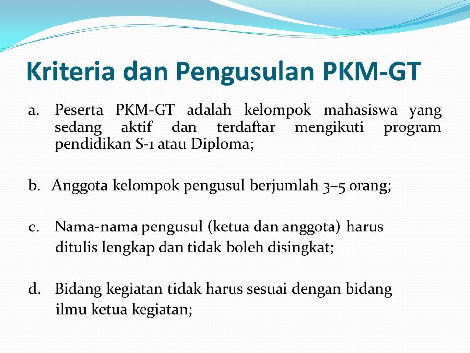 Kriteria dan Pengusulan PKM-GT