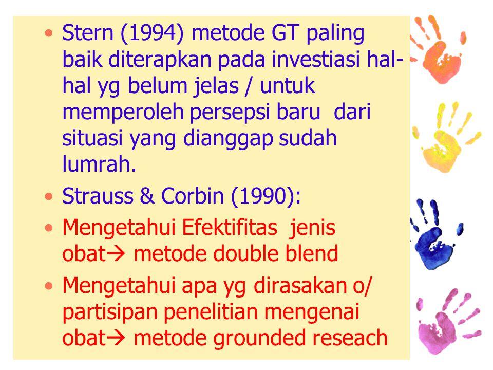 Stern (1994) metode GT paling baik diterapkan pada investiasi hal-hal yg belum jelas / untuk memperoleh persepsi baru dari situasi yang dianggap sudah lumrah.