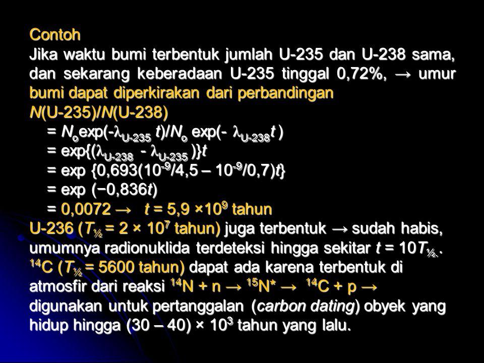 Contoh Jika waktu bumi terbentuk jumlah U-235 dan U-238 sama, dan sekarang keberadaan U-235 tinggal 0,72%, → umur.