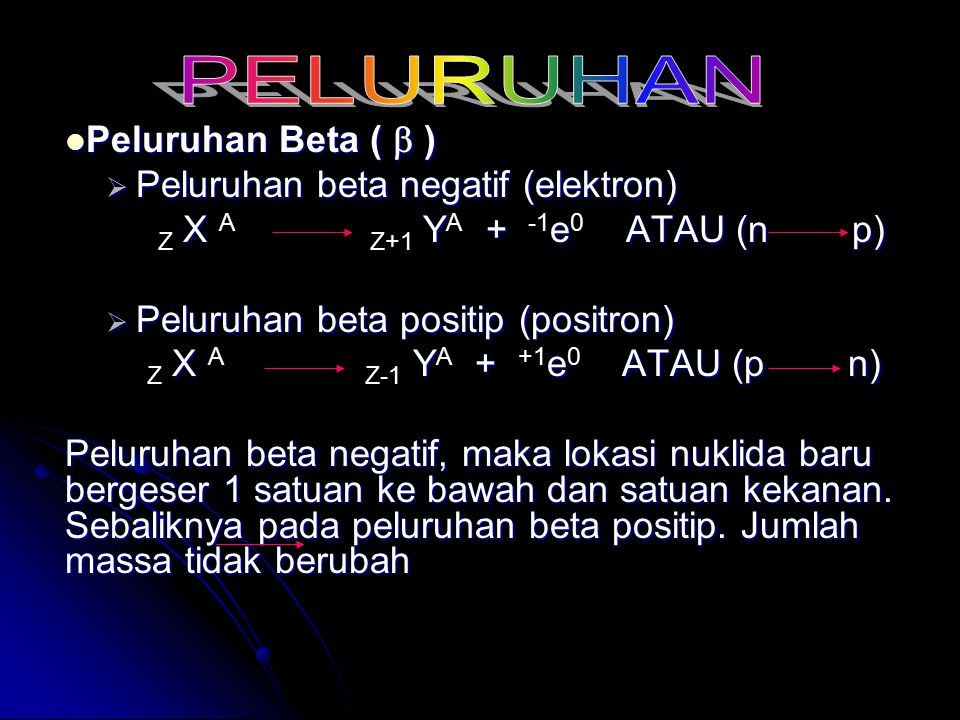 PELURUHAN Peluruhan Beta (  ) Peluruhan beta negatif (elektron)